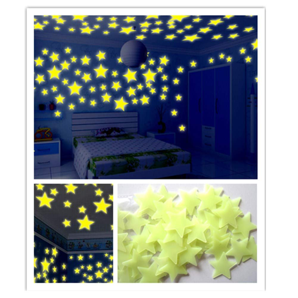 callm 50/100PC Kids Bedroom Fluorescent Glow in The Dark Stars Wall Stickers Glow in The Dark Stars: More Realistic Looking Than Typical Glow in The Dark Stickers (Yellow 100pc)