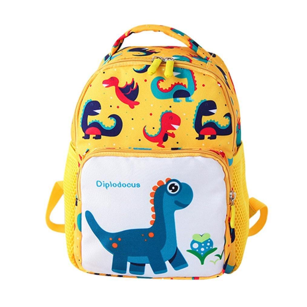 fimkaul Kidsバックパック, Cute幼児バックパックforボーイズGirls Cartoon Dinosaur Animalスクールバッグ B07F916CZY イエロー Small