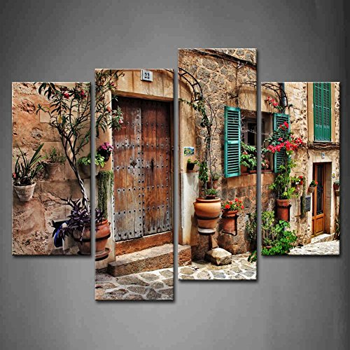 - 4 Panel Wall Art Streets of Old Mediterranean Towns Flower Door Windows Painting The Picture Print On Canvas Architecture Pictures for Home Decor Decoration Stretched by Wooden Frame,Ready to Hang