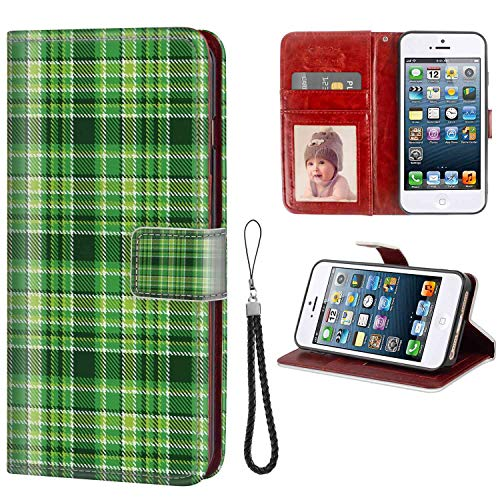 Checkered Old Fashioned Irish British Tile Mosaic in Vibrant Green Colors Emerald Lime Green White Leather Wallet Case for iPhone 5S (2013) | iPhone 5 (2012) | iPhone SE (2016) [5.5