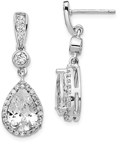 925 Sterling Silver Rhodium-plated Polished CZ Dangle Post Earrings
