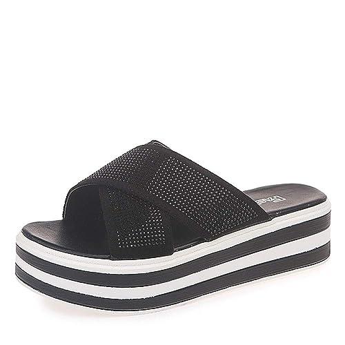 Zapatillas De Mujer Brillante Diamante De Imitación Tacón Alto Playa Respirable Antideslizante Durable Sandalias De Verano: Amazon.es: Zapatos y ...