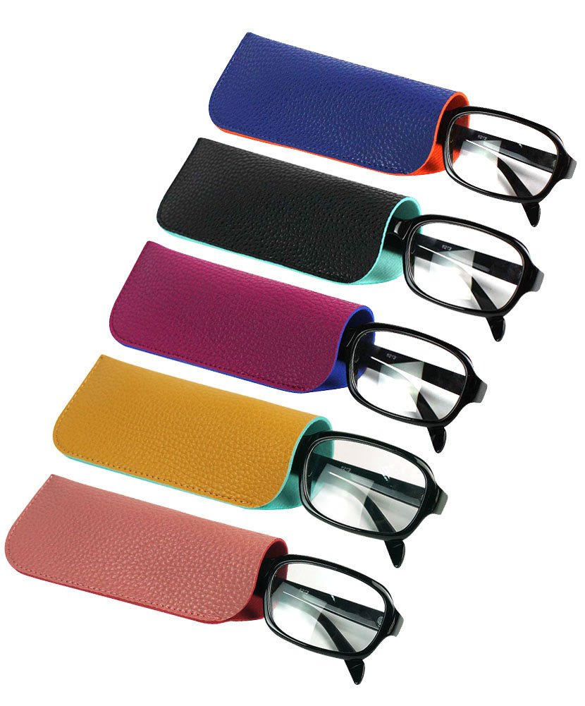 JAVOedge (5 Color PCS SET) 2 Tone Color Style Soft Pouch Eyeglass Storage Case with Microfiber Eyeglasses Cleaning Cloth
