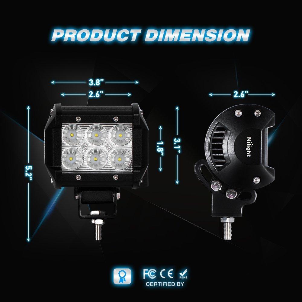 2 Years Warranty 5559039859 Nilight LED Light Bar 2PCS 18W Flood Led Off Road Lights 12V 5Pin Rocker Switch LED Light Bar Wiring Harness Kit
