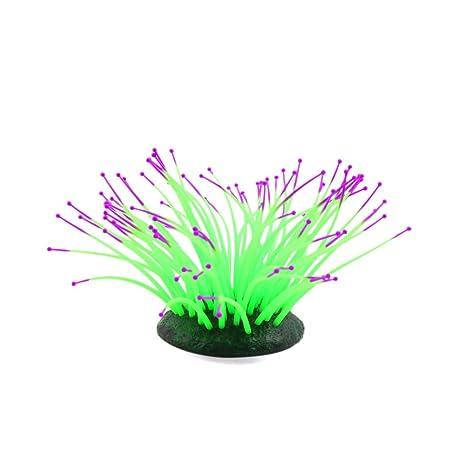 sourcing map Sourcingmap® Silicona Verde Brillante Efecto De Mar Artificial Anémona Coral Pecera Paisaje