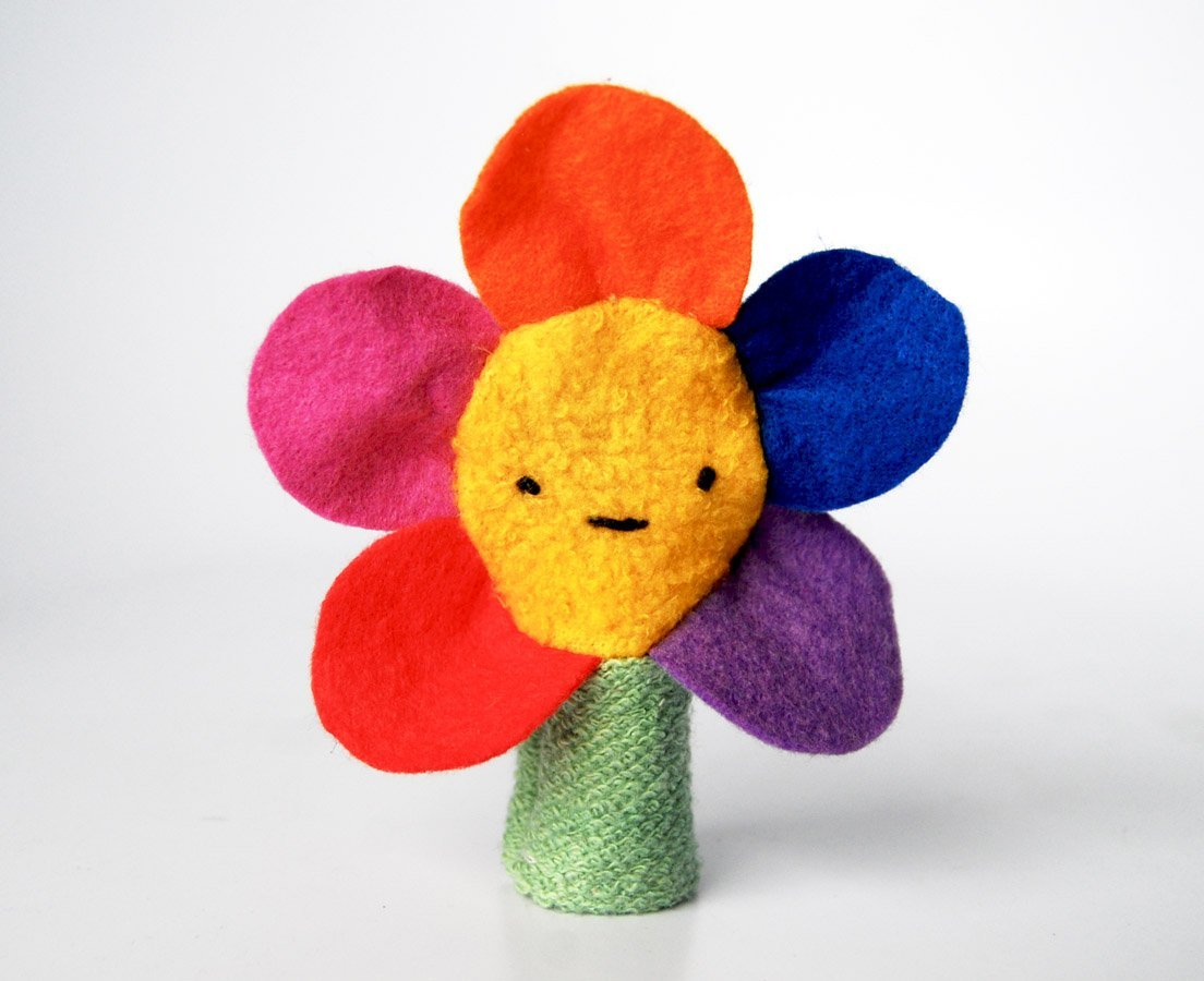 Organic Cotton Flower Finger Puppet Nature Toy