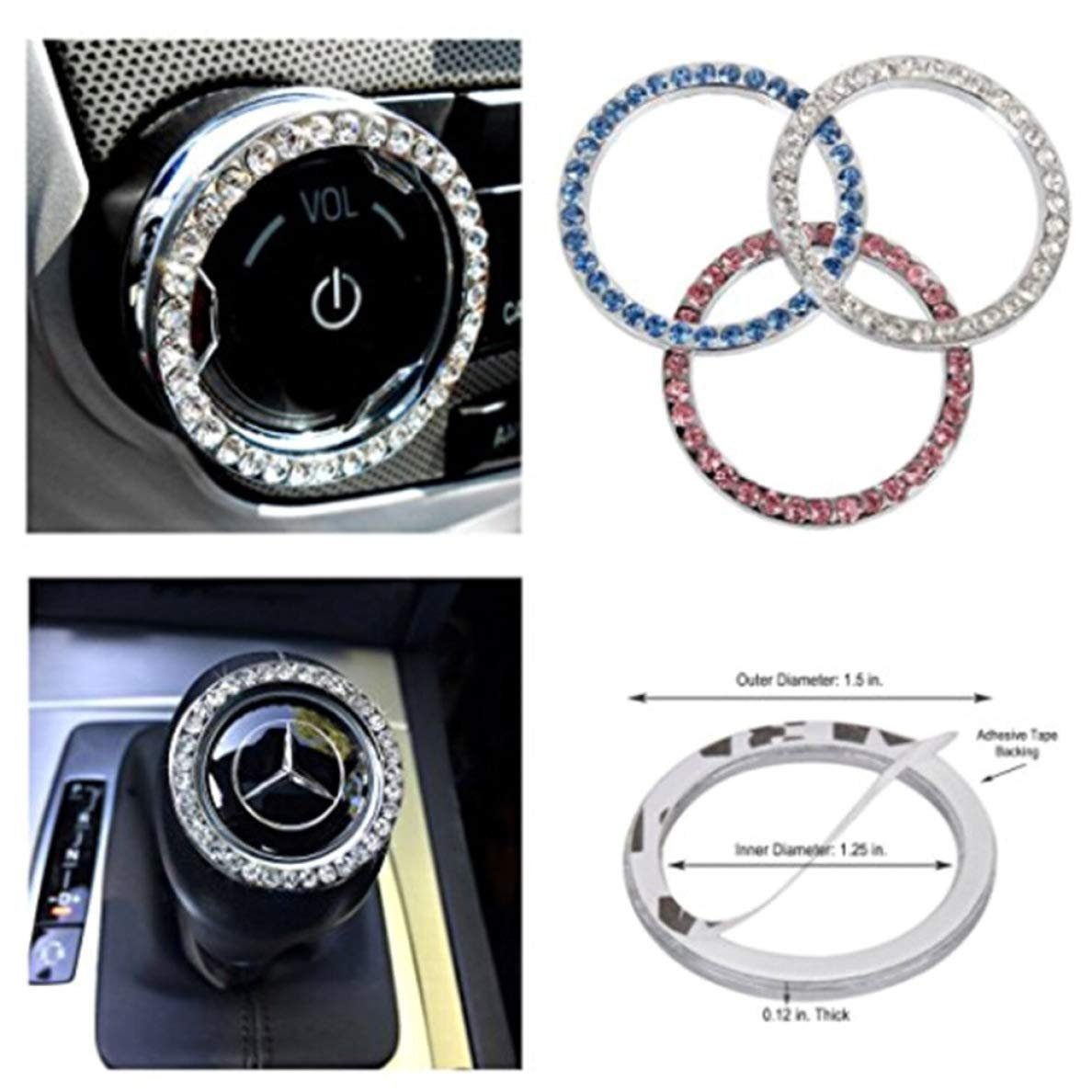 YiOQIBiao faultless Styling Car Accessories,Crystal Car Engine Start Stop Ignition Key Ring For Car Color random