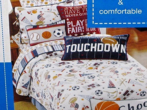 2-pc SPORT SPORTS TWIN SIZE Quilt Set (SQUARE football pillow included) - hockey baseball football basketball soccer - Max Studio Kids by Max Studio Kids