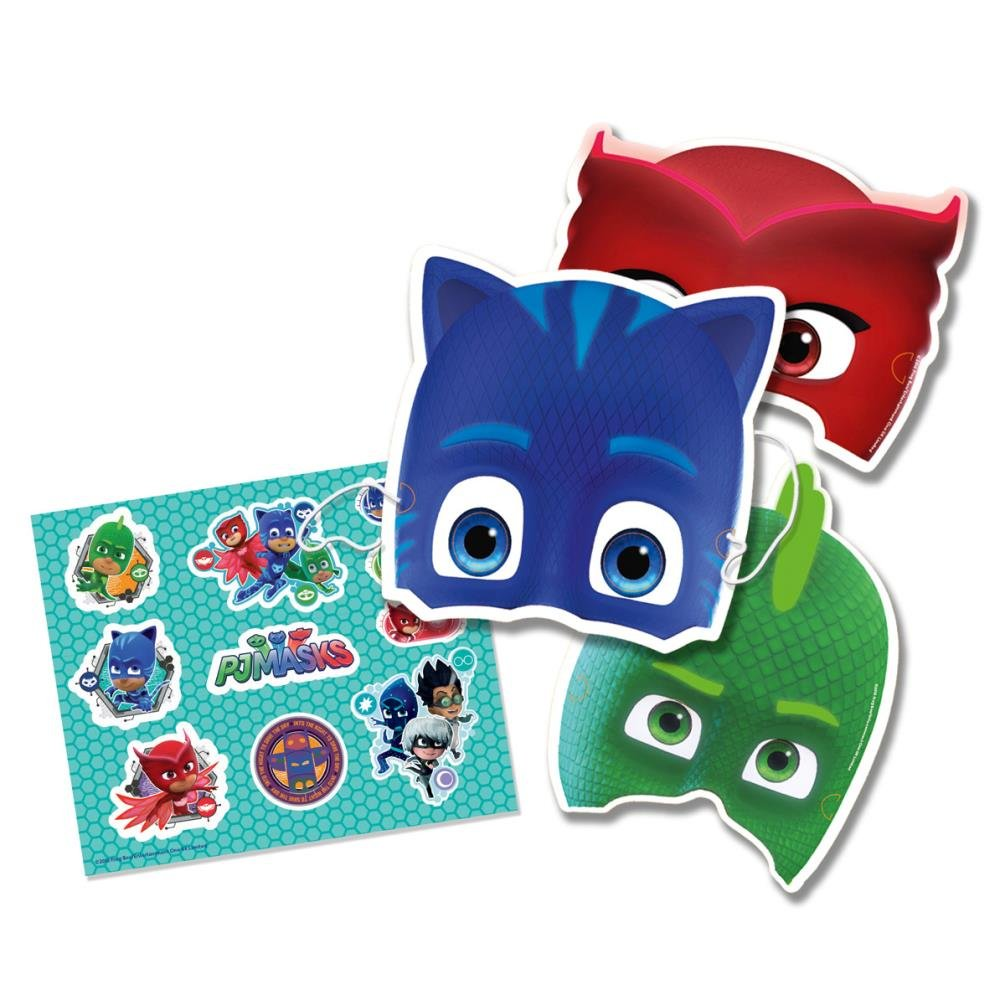 Kit 6 máscaras y stickers PJ Masks niño Generique 254860GEM