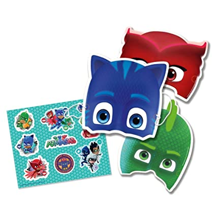 Kit 6 máscaras y stickers PJ Masks niño