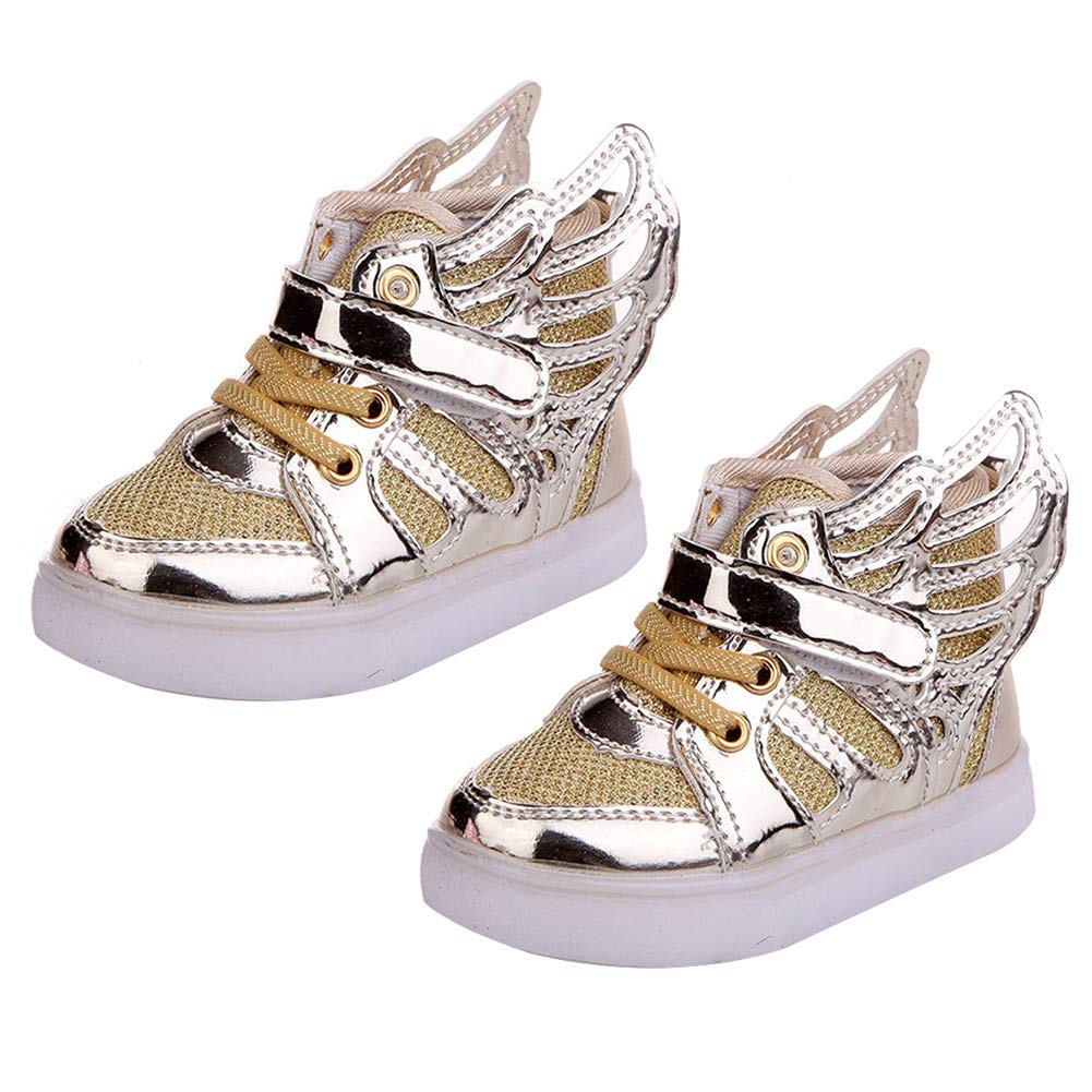 Golden 26 Alamana Fashion Kids Child Girls Boys Wings Sneaker LED Light Anti-Slip Casual Shoes