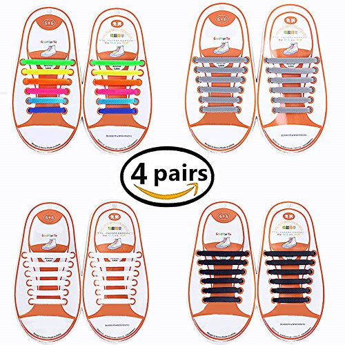 Talent Fashion 4 Packs of Kids/Adults Tieless Elastic Silicone No Tie Shoelaces Waterproof Rubber Flat Running Shoe Laces for Sneakers Board Shoes Casual Shoes and Boots (Kids)