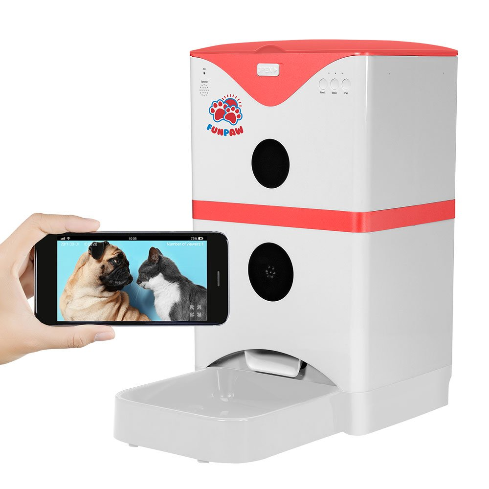 FunPaw 6L Automatic Pet Feeder for Cats/Dogs: Scheduled Feeding, Monitoring & 2-Way Chats w/ App; Mic, Speaker & Camera (Red)
