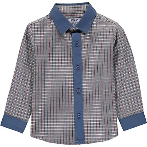 Piccino Piccina Boys Navy & Gray Checkered Button up,, used for sale  Delivered anywhere in USA