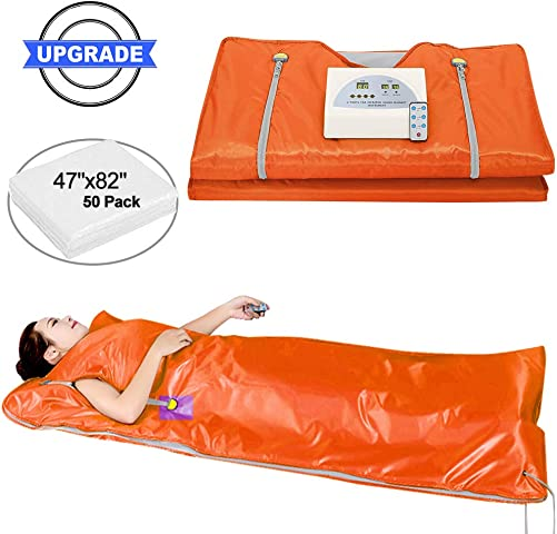 Sauna Blanket, Professional Far-Infrared Heat Sauna Heating Blanket with 50pcs Plastic Sheetings, 2 Zone Controller, Anti Ageing Beauty Machine for Body Shape Slimming Detox Sp Upgraded Orange