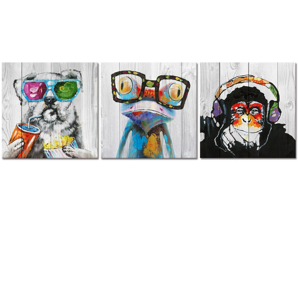"Abstract Animal Painting Canvas Prints Cool Dog Eat Breakfast & Gorilla Monkey Listen Music & Frog Wear Glasses on Vintage Wood Wall Art 16""x16""x3"