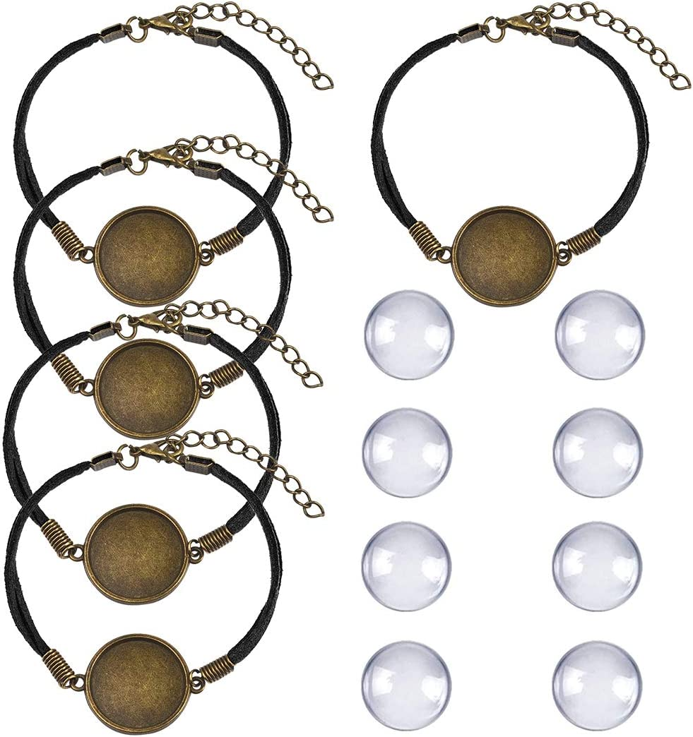 DROLE Adjustable Blank Bangle with Pads 5Pcs Round Cabochon Bezel Setting with 10Pcs Glass Tiles Dome Cabochons for DIY Bracelet Jewelry Making 25mm Black