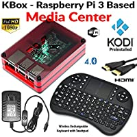 KBox - Raspberry Pi 3 Based - Extreme Media Center - Red Case - Bundle with Wireless Keyboard/Touchpad - Kodi