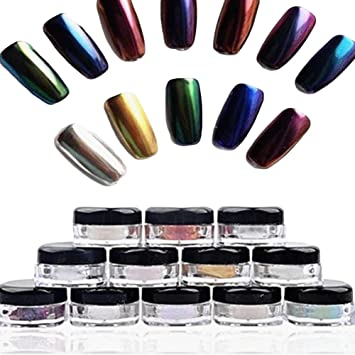 Chrome Nail Powder Kit, Sixpi 12 Colors Nail Glitter Powder Shinning Nail  Mirror Powder Makeup Art DIY