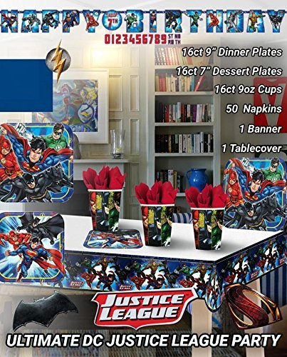 Justice League Birthday Party Supplies Decoration Bundle for 16 Guests. Includes Plates, Cups, Napkins, Table Cover, and Jumbo Banner (Bonus Matching Paper Straw Pack) ()