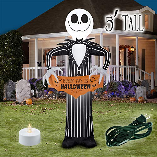 Booyard Jack Skellington Banner Halloween Blow Up Outdoor Inflatable - 5ft Tall Decorations