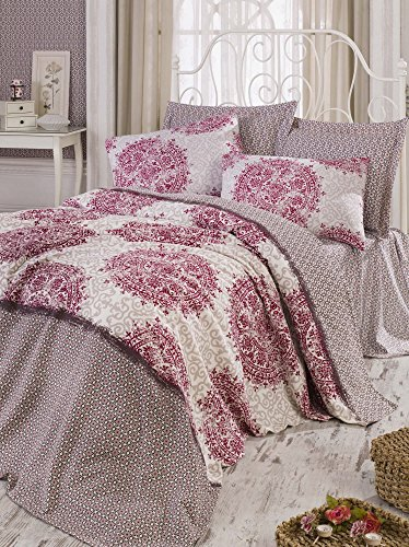 - LaModaHome Luxury Soft Colored Bedroom Bedding 100% Cotton Single Coverlet (Pique) Thin Coverlet Summer/Mixed Motif Design Line Pattern Shape Form Red Brown/Single Roma - Fuchsia Fuchsia Beige