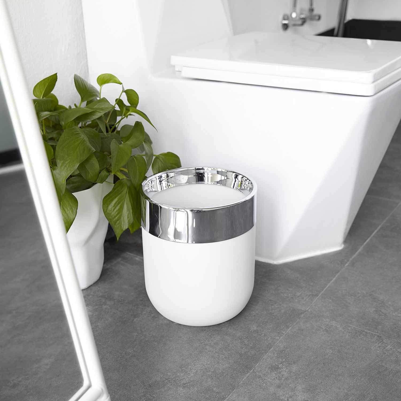 Umbra Junip Stylish Waste Can, White/Chrome