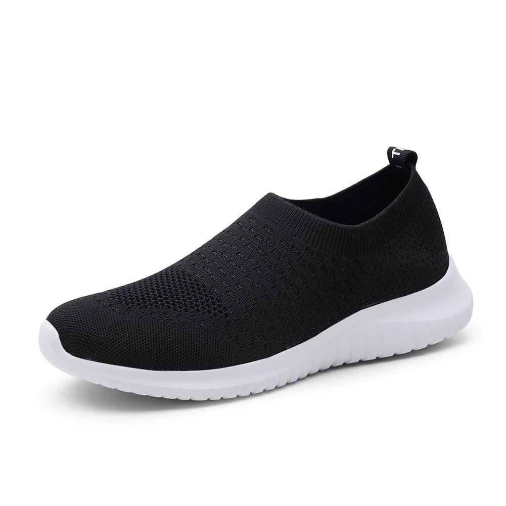 TIOSEBON Men's Walking Shoes Casual Flyknit Running Slip-on Sneakers 9.5 US=EU 43 Black