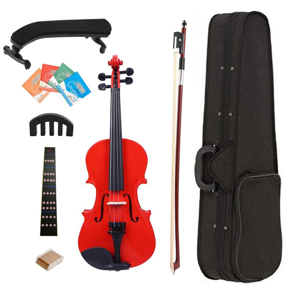 1 Set 1/8 Color Splint Acoustic Violin Student Musical Instrument Exerciser for Beginner Kids with Hard Case (17in5.9in2.12in)(Suitable for children under SIX)(Red) 61W0E9UdssL