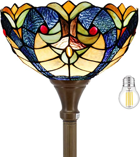 Tiffany Floor Lamp Torchiere Up Lighting LED Bulb Included W12H66 Inch Blue Stained Glass Liaison Lampshade Antique Standing Iron Base Foot Switch S160E WERFACTORY Living Room Bedroom Decoration