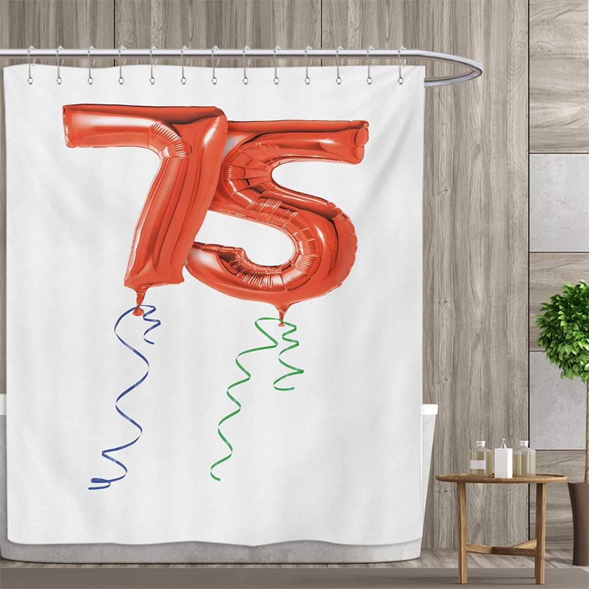 Smallfly 75th Birthday Custom Made Shower Curtain Number Balloons In Red Color With Curly Swirl Ribbons Celebration Mood Curtains 3D Digital Printing