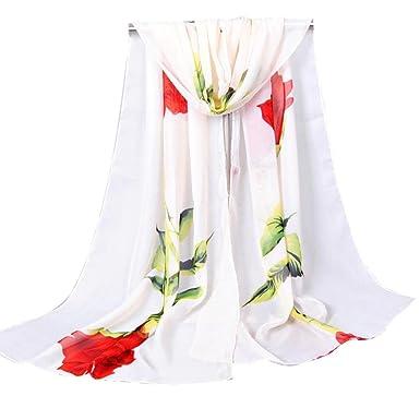 Echarpes et foulards Amlaiworld Mode Femmes Rose longue écharpe douce Dames Châle  Écharpe en mousseline de soie Écharpe de Plage Blocage de Couleur ... 594346b3198