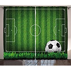 Lunarable Boy's Room Curtains, Green Grass Field Soccer Playground with The Ball Scheme Stripes Strategy, Living Room Bedroom Window Drapes 2 Panel Set, 108 W X 63 L inches, Green Black White