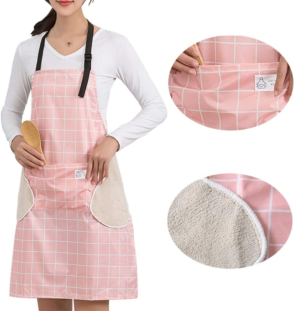 Zunniu Pink Waterproof Kitchen Apron for Women Checkered Apron Adjustable Neck with Pockets Checkered Home Cleaning Apron Vinyl Waterproof and Oil-Proof Apron with Towels on Both Sides (Pink Grid)