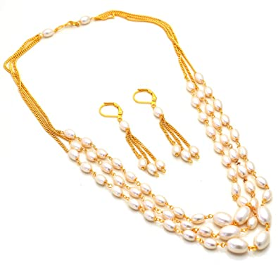 Buy Jewar Mandi Pearl Moti Mala Set Gold Plated Unique Beautiful