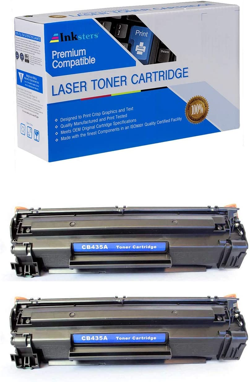 - Compatible with Laserjet P1002 P1003 P1004 P1005 P1006/P1009 CB435A 2 Pack Inksters Compatible Black Toner Cartridge Replacement for HP 35A