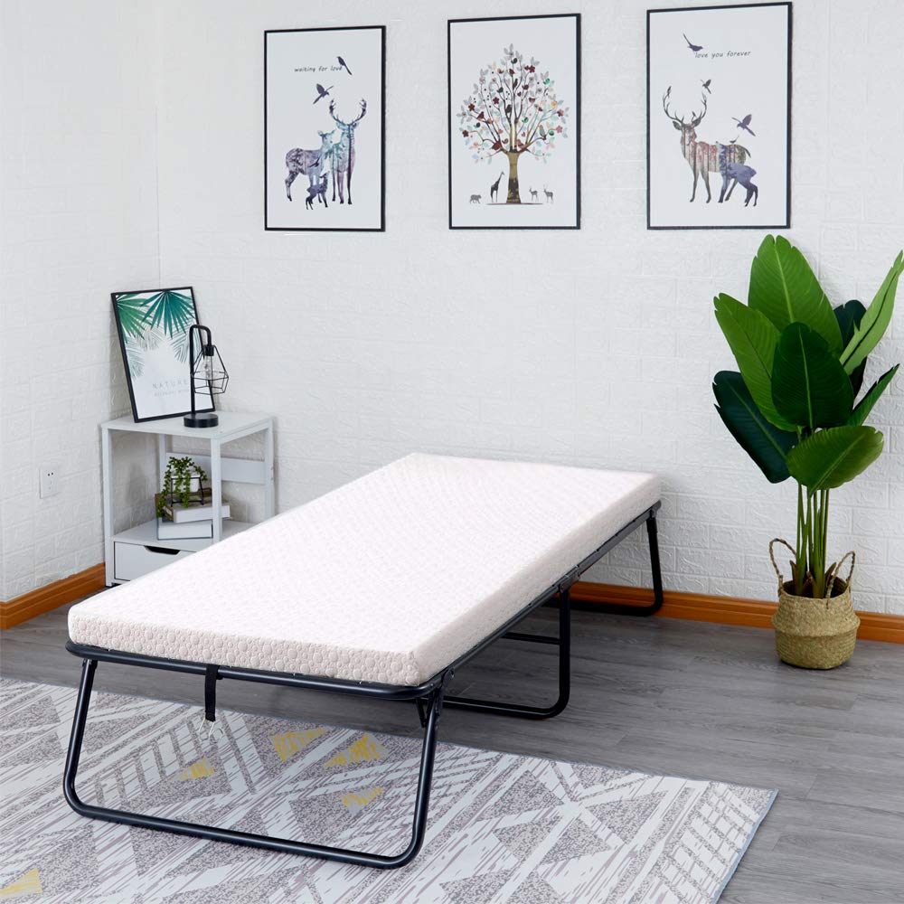 Comsuit Asaren Folding Guest Bed Portable Rollaway Bed with Thick Memory Foam Mattress Featuring a Super Strong Sturdy Frame for Spare Bedroom & Office