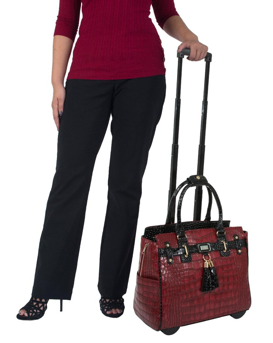 ''The Belmont'' Bordeaux Red Burgundy Wine & Black Rolling iPad Tablet or Laptop Tote Carryall Bag