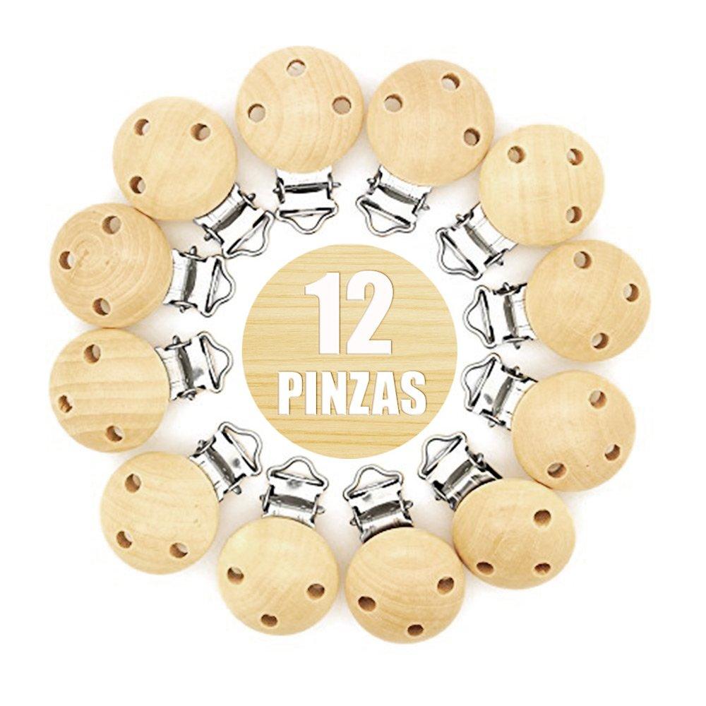 RUBY-12 Clip per Ciuccio in Legno, Colore Naturale,Teether accessori per neonati Prodotti