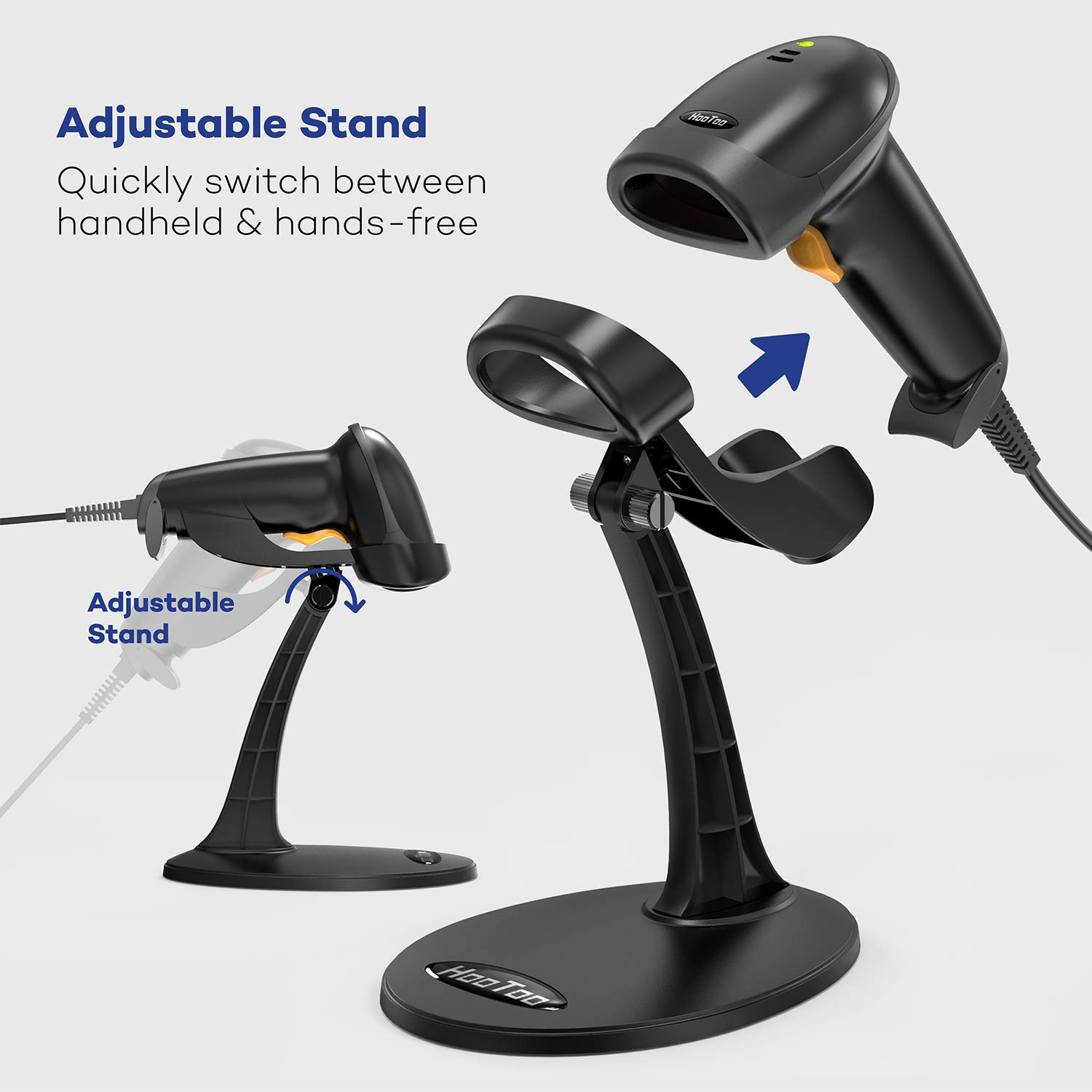 HooToo Barcode Scanner USB Barcode Scanner for Computer, Wired Barcode  Scanner with Stand, Fast and Precise Auto Scan Support Windows/Mac  OS/Android