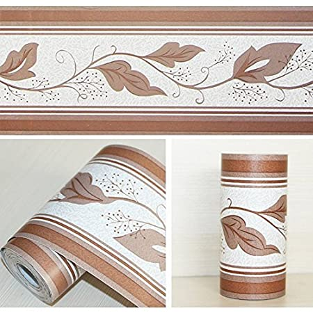 LoveFaye Peel U0026 Stick Wallpaper Border For Kitchen Bedroom Removable Wall  Borders Roll Retro Leaf