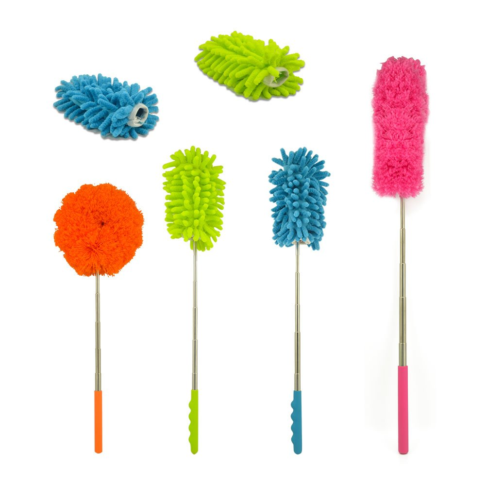 Mlife Extendable Microfiber Duster, Duster Set of 4pcs Telescopic Duster with 2pcs Feather Duster Head Bendable Washable Dusting Brush, Perfect for Household Office Car Cleaning
