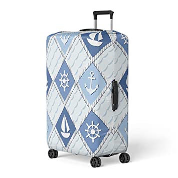 Nautical Anchor Travel Luggage Cover Suitcase Protector Washable Zipper Baggage Cover