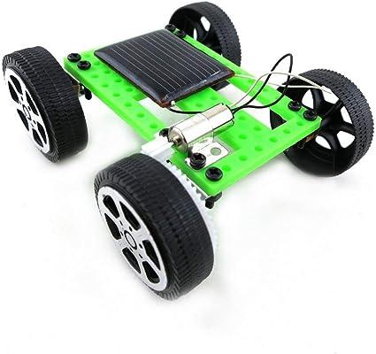Mini giocattolo di plastica a mano ad energia solare Kit per auto fai da te Tecnologia per bambini Gadget educativo Hobby Kit divertente 8-11 Et/à nero e verde
