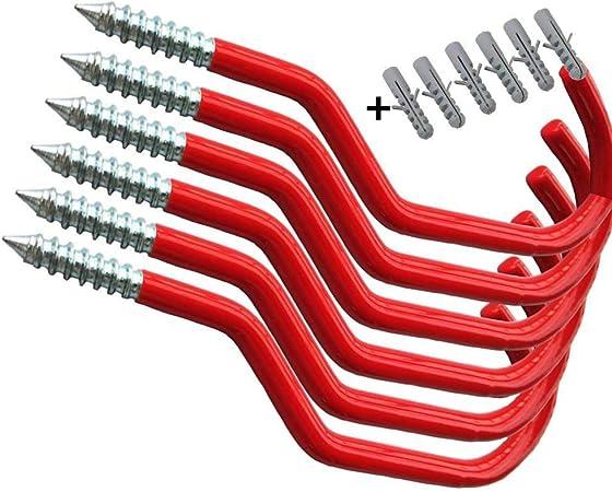 6 X vélo Crochets Stockage Vélo Grand Rouge Revêtement PVC Wall Hanger Crochets
