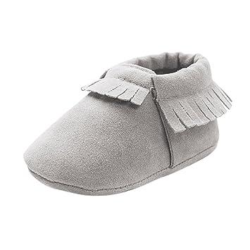 fe7ac27e20d40 Bébé Enfant Chaussures à Franges en Cuir Nubuck Doux Mocassin Garçons  Filles Crèche - Gris