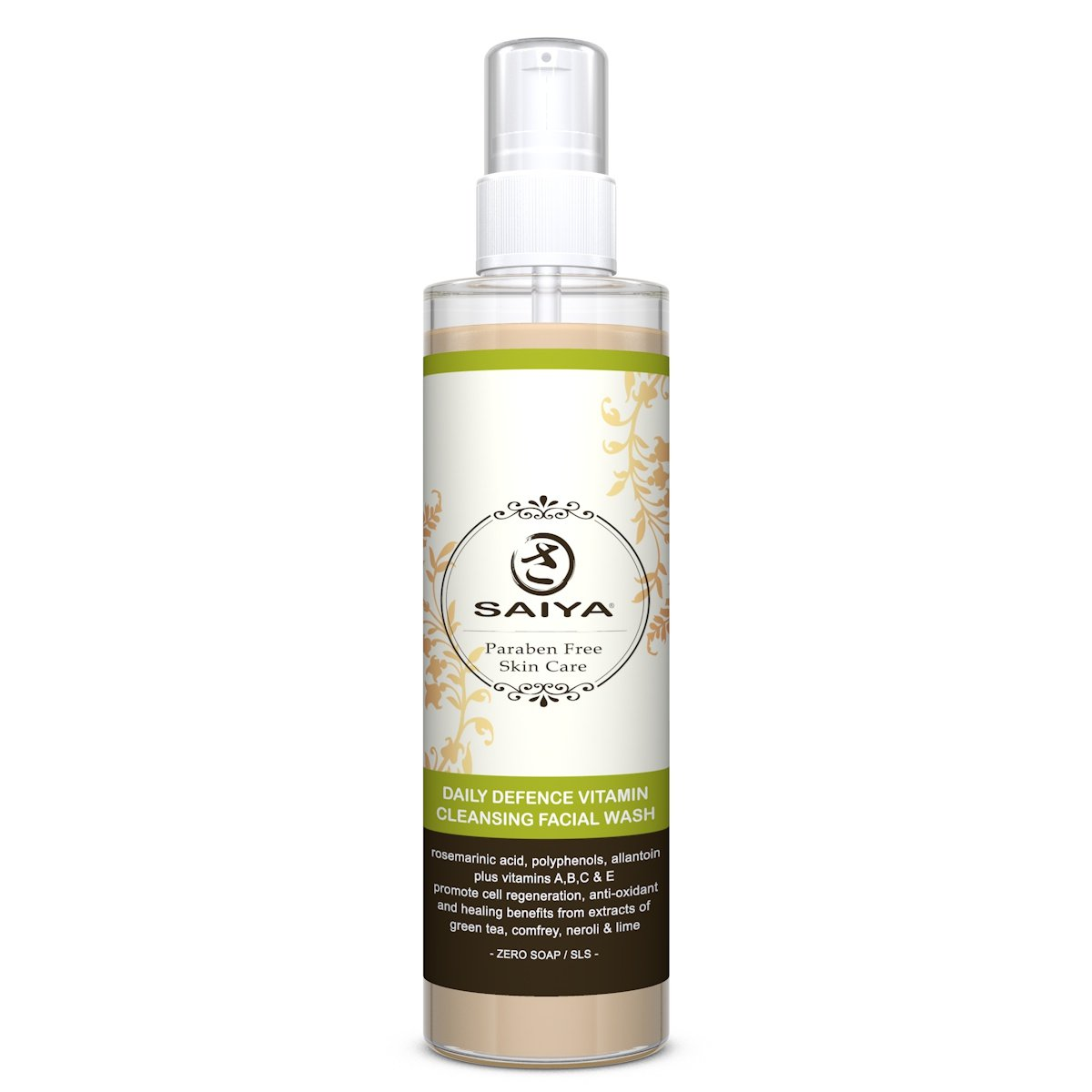 Deep Cleansing Facial Wash- All Natural Mild Green Tea-Best Natural Daily Care- Free Radical Protection-Gentle Skin Cleanser-Cell Regeneration-Effective Healing- Remove Makeup Everyday-Antioxidant 145ml Saiya