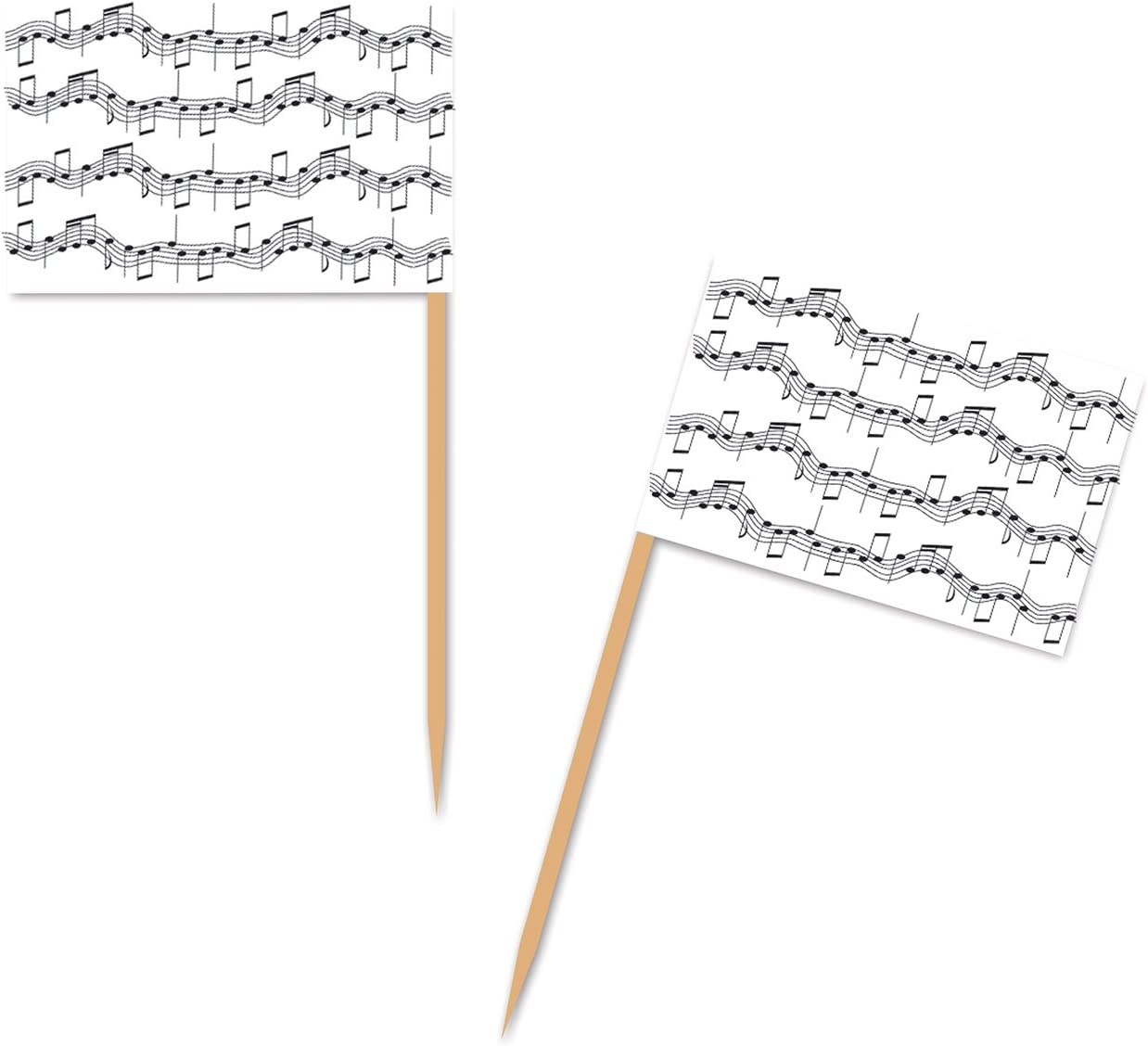 Beistle Musical Notes Picks, 2 1/2-Inch, White/Black