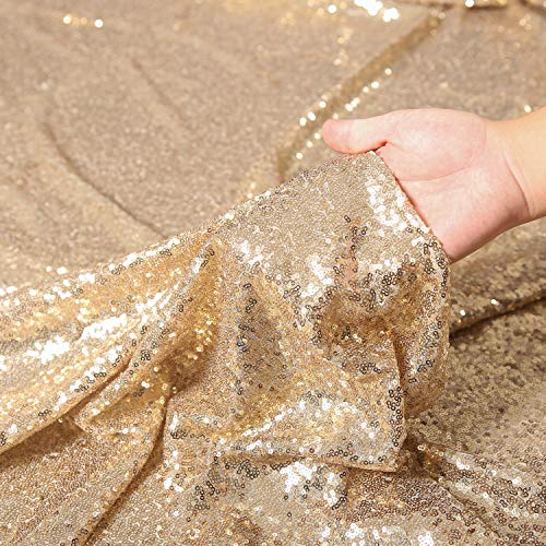 Party Delight Sequin Fabric 2 Yards 6 Feet, Light Gold by The Yard, for Tablecloth, Linen, Home Dector ()