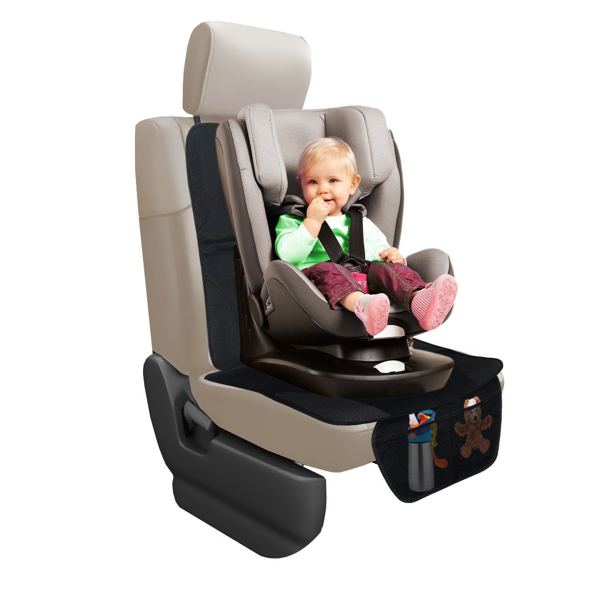 Oetoe Car Seat Protector, Luxury Mat Protector to Keep Nice and Clean Under Your Baby s Infant Car Seat, Protect Your Auto Leather and Upholstery Seats from Damage, Includes 2 Handy Storage Pockets